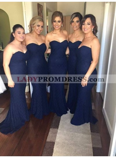 2021 Charming Mermaid Dark Navy Lace Sweetheart Long Bridesmaid Dresses / Gowns