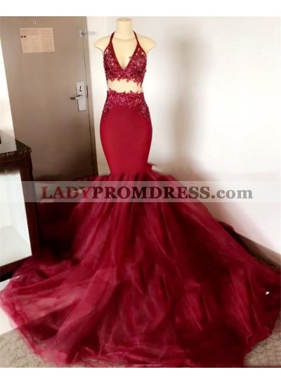 2021 Burgundy Halter Mermaid Prom Dresses