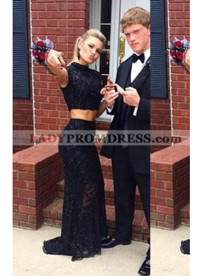 2019 Junoesque Black High Neck Lace Two Pieces Prom Dresses