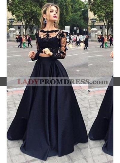 2021 Junoesque Black Illusion A-Line/Princess Satin Prom Dresses