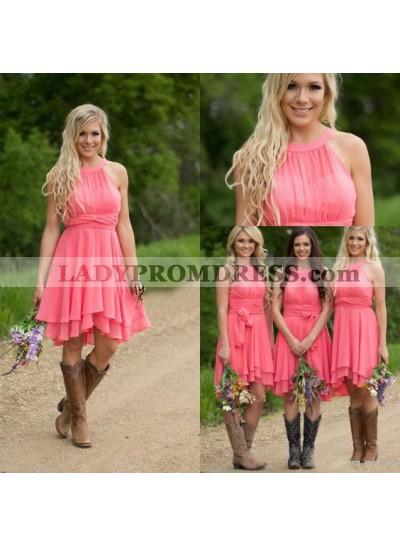2020 Cheap A Line Short Water Melon Chiffon High Neck Bridesmaid Dresses / Gowns