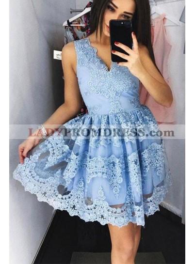 Blue Knee Length V-neck Short Prom Dresses With Appliques