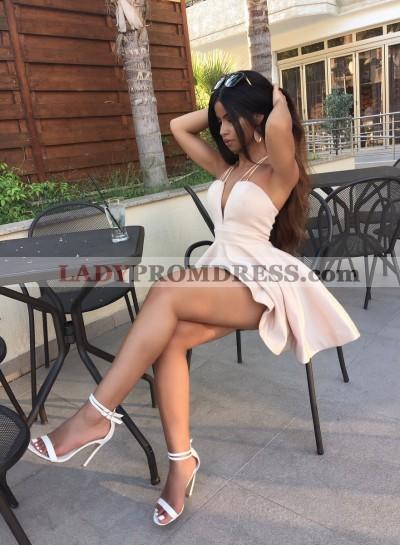 Deep V-neck Ivory A-line Sleeveless Short Homecoming Dress