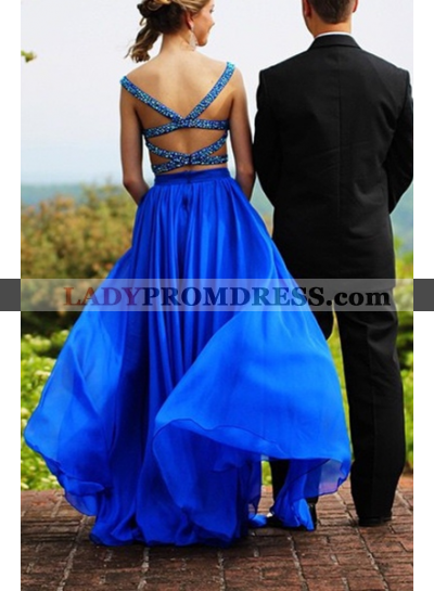 Royal Blue Crystal Straps Backless A-Line/Princess Two Pieces Prom Dresses