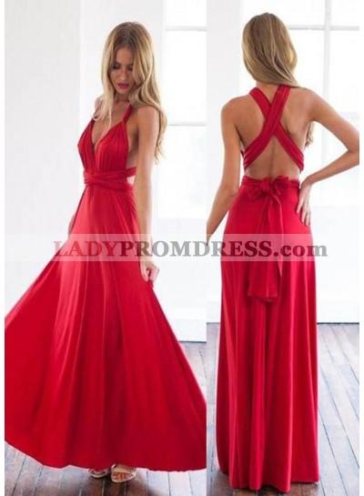 2019 Gorgeous Red Sash A-Line/Princess Stretch Satin Prom Dresses