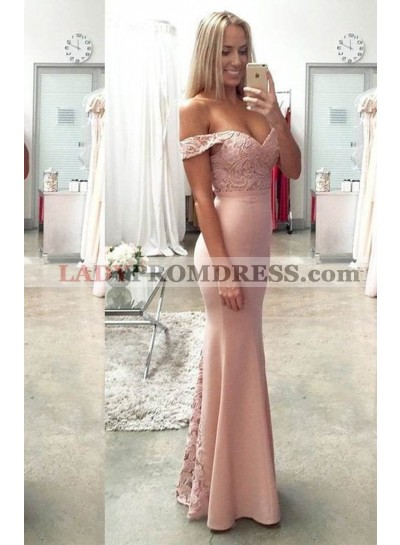 Lace Off-the-Shoulder Mermaid/Trumpet Satin Prom Dresses