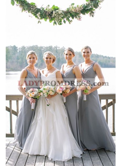 2021 Cheap A Line Chiffon Silver Long V Neck Bridesmaid Dresses / Gowns