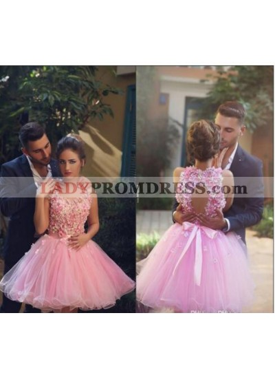 A-Line Round Sleeveless Above-Knee Pink Homecoming Dress 2019 with Appliques