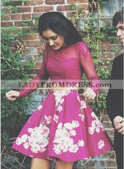 Two Piece Bateau Long Sleeves Fuchsia Satin Dress With Print Beading