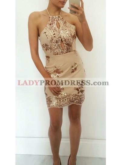 Sheath Halter Sleeveless Short Champagne Homecoming/Prom Dresses with Keyhole