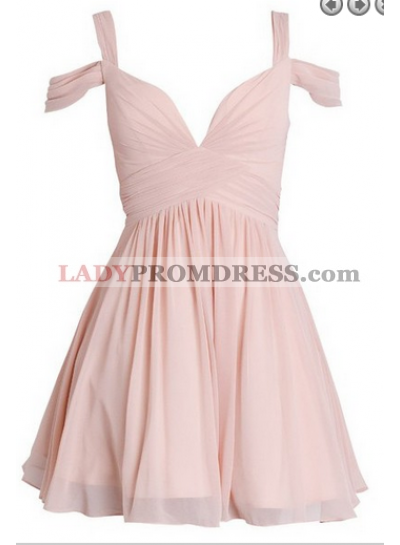 A-Line Straps Above-Knee Open Back Pink Homecoming Dress with Pleats