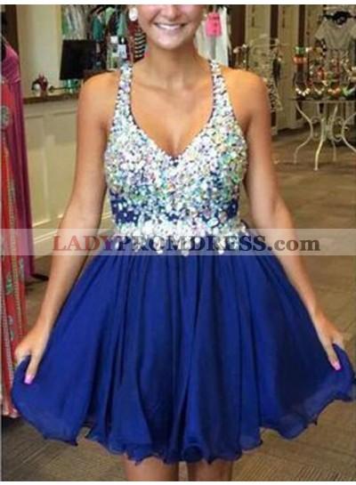 Royal Blue A-line Deep V-neck Beading Pleated Short Homecoming Dress