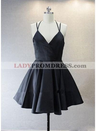 Princess/A-Line V-Neck Short Black Satin Homecoming/Prom Dresses