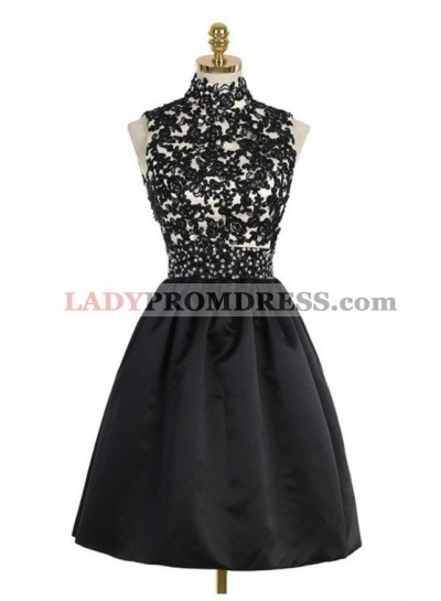A-Line High Neck Open Back Above-Knee Black Homecoming Dress 2021 with Lace Sequins