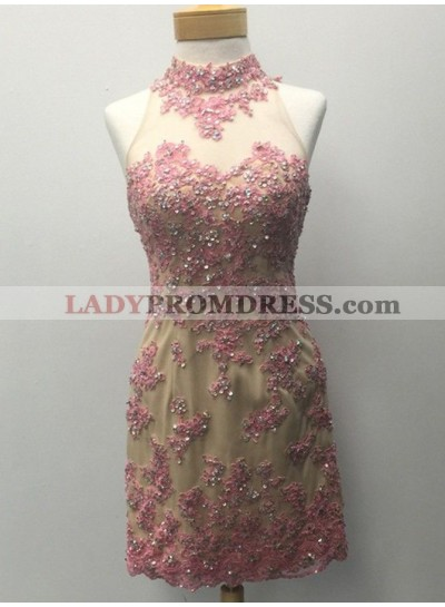 Sheath Pink High Neck Open Back Appliques Beading Homecoming Dress