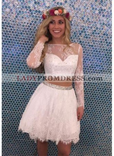 Two Piece Bateau Long Sleeves White Tulle Homecoming Dress 2021 with Lace Beading