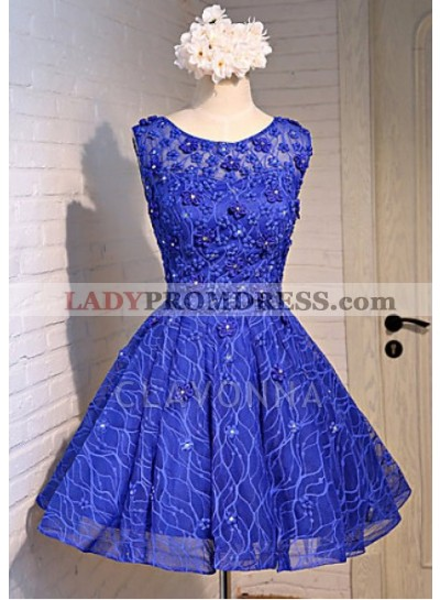 Princess/A-Line Crew Neck Royal Blue Lace Homecoming/Prom Dresses