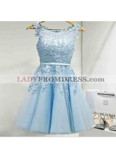 A-Line Jewel Light Blue Chiffon Short Homecoming Dress 2021 with Appliques Pleats