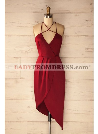 Sheath Halter Asymmetrical Dark Red Satin Homecoming Dress