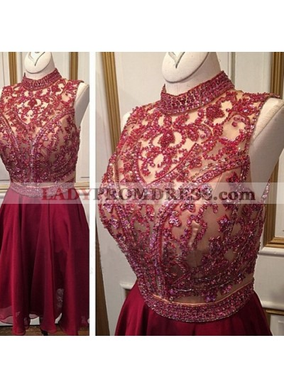 A-Line High Neck Burgundy Chiffon Short Homecoming Dress 2021 with Beading Sequins