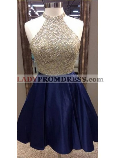 A-Line Jewel Navy Blue Satin Short Homecoming Dress 2021 with Beading