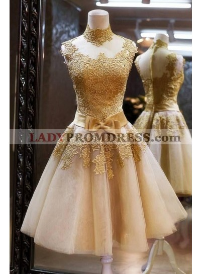 A-Line High Neck Knee-Length Champagne Short Homecoming Dress 2019 with Appliques