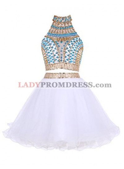 Two Piece High Neck White Tulle Short Homecoming Dress 2021 with Beading Rhinestone