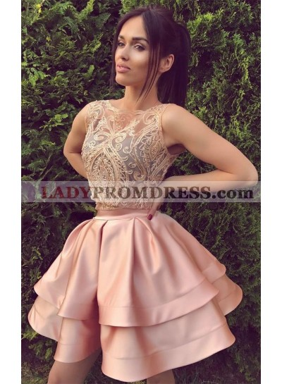 A-Line Bateau Sleeveless Zipper-Up Pink Satin Homecoming Dress 2019 with Appliques