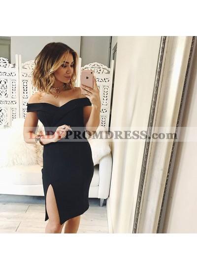 Bodycon Off-the-Shoulder Split-Side Black Homecoming Dress 2021