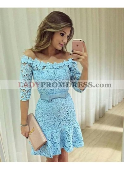 Sheath Off-the-Shoulder Above-Knee Blue Lace Homecoming Dress 2019 with Sashes