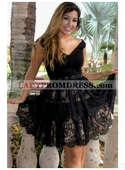 A-Line V-Neck Short Black Lace Homecoming Dress 2020 with Beading Waist
