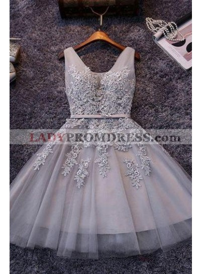 Princess/A-Line V-Neck Appliques Gray Tulle Homecoming/Prom Dresses