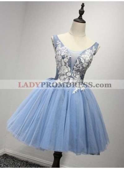 Princess/A-Line Crew Neck Blue Appliques Homecoming/Prom Dresses
