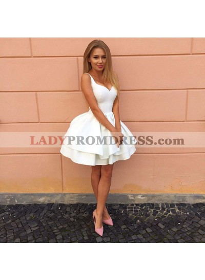 Princess/A-Line Straps White Tired Satin Homecoming/Prom Dresses