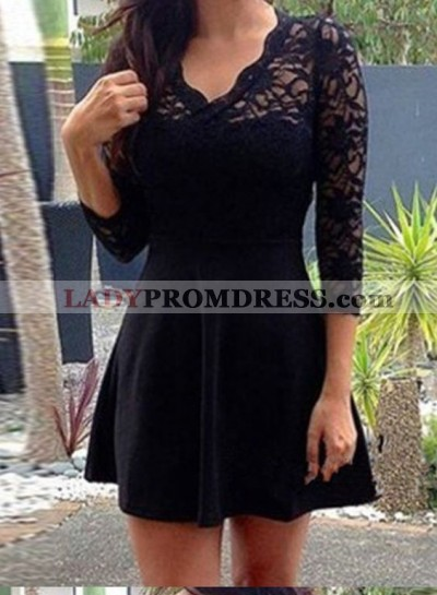 Princess/A-Line V-Neck 3/4 Sleeves Open Back Little Black Dresses with Lace
