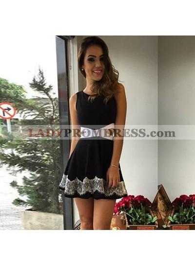 A-Line Jewel Cut-Out Little Black Dress with Lace