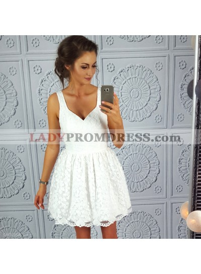 Princess/A-Line Straps Short White Lace Homecoming/Prom Dresses