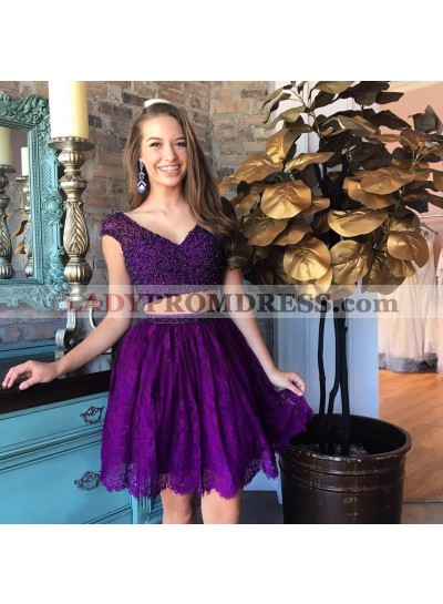 Two Piece V-Neck Beading Purple Homecoming Dress 2020 with Lace