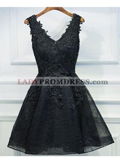 Princess/A-Line V-Neck Appliques Short Black Homecoming/Prom Dresses