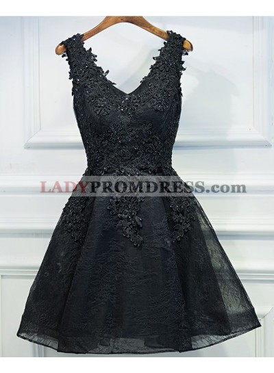 A-Line V-Neck Appliques Short Black Homecoming Dress 2021