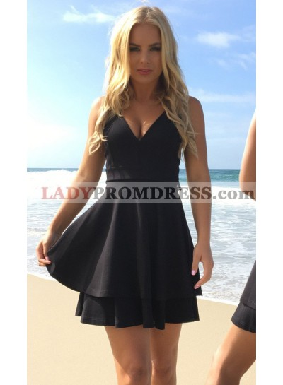 A-Line V-Neck Open Back Little Black Dress with Lace