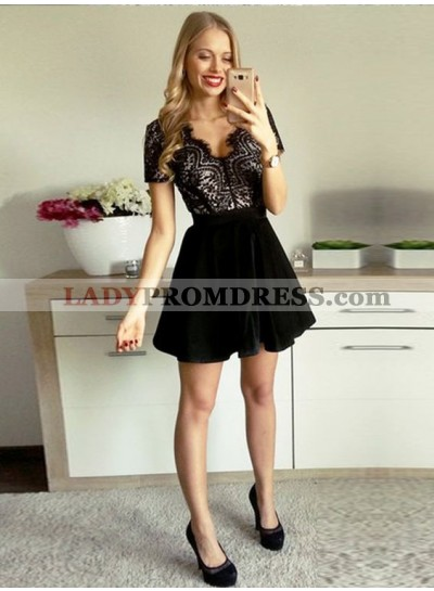 Princess/A-Line V-Neck Short Sleeves Open Back Velet Little Black Dresses