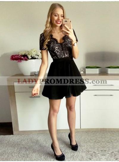 A-Line V-Neck Short Sleeves Open Back Velet Little Black Dress