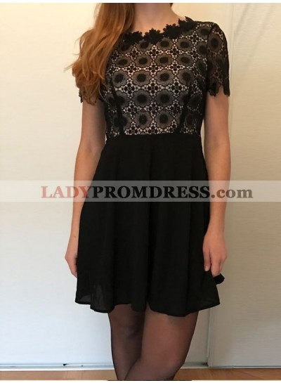 Princess/A-Line Scalloped Short Sleeves Open Back Chiffon Little Black Dresses