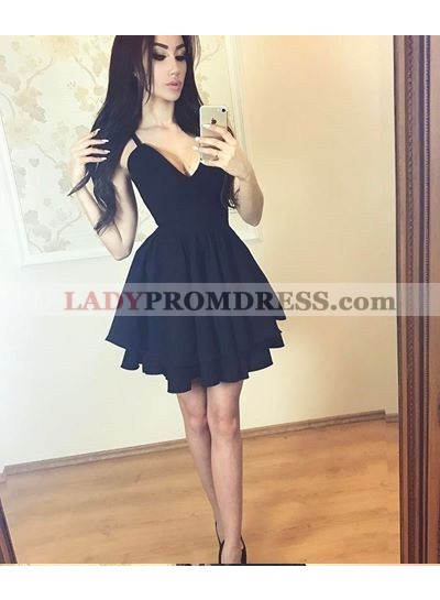 A-Line V-Neck Tired Black Homecoming Dress 2020