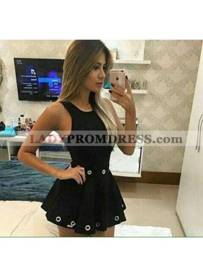 Princess/A-Line Scoop Eyelets Satin Little Black Dresses