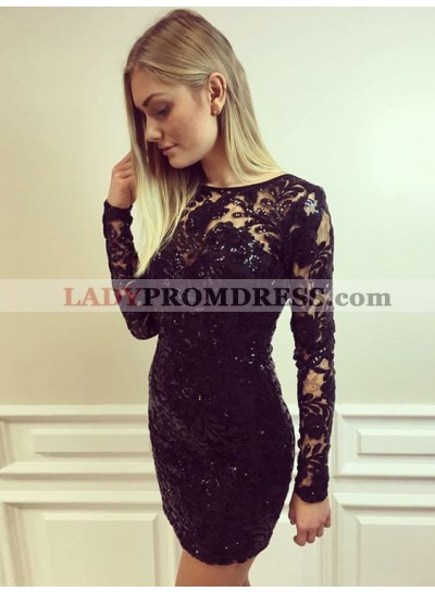 Bodycon Jewel Long Sleeves Lace Little Black Dresses
