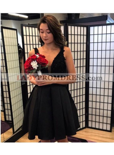 A-Line V-Neck Black Homecoming Dress 2021 with Lace