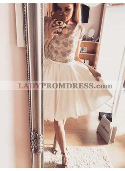 A-Line Bateau Cap Sleeves Ivory Homecoming Dress 2020 with Lace