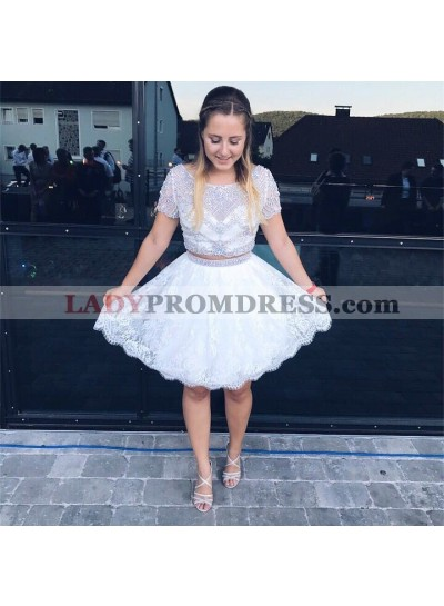 Two Piece Round Neck White Homecoming/Prom Dresses with Beading Lace